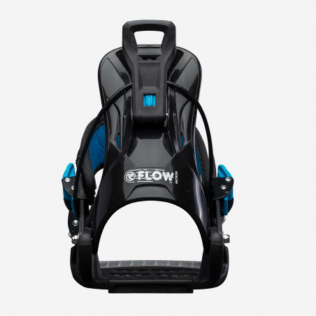 Flow NX2-GT Speed Entry Snowboard Binding, shown in black color, rear three-quarter view