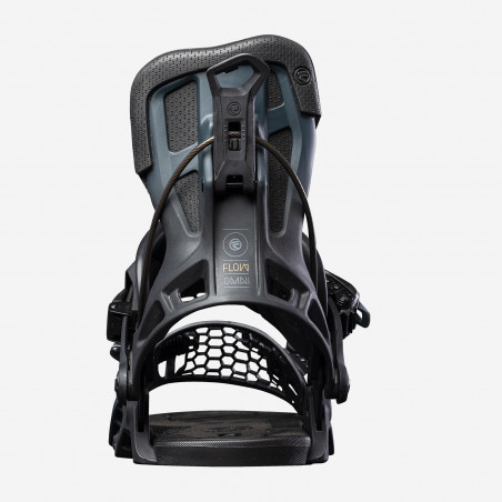 Flow NX2-GT Speed Entry Snowboard Binding shown in black colour, rear 3/4 view