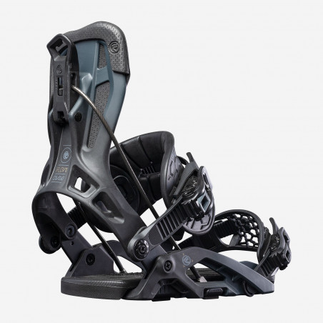 Flow NX2-GT Speed Entry Snowboard Binding shown in black colour, rear view