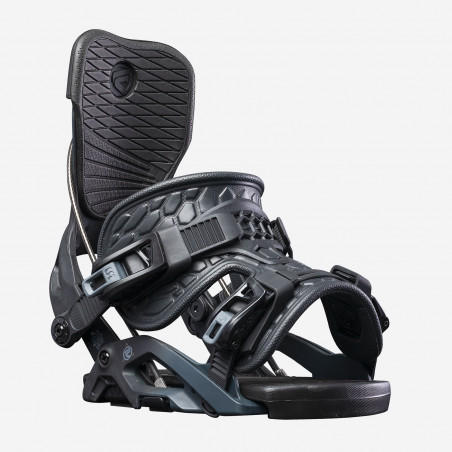 Flow NX2-CX Speed Entry Snowboard Binding, shown in black color, back view