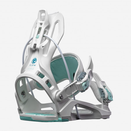 Flow NX2-CX Speed Entry Snowboard Binding shown in black colour, rear view