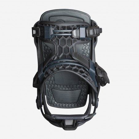 Flow NX2 Speed Entry Snowboard Binding, shown in gunmetal color, side view