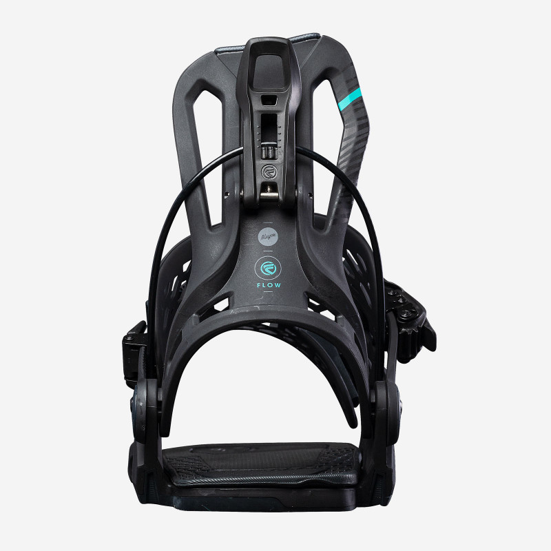 Flow NX2 Speed Entry Snowboard Binding, shown in gunmetal color, 3/4 view