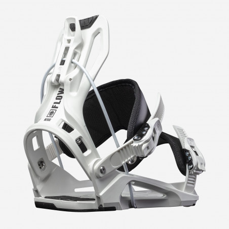Flow NX2 Speed Entry Snowboard Binding shown in black colour, rear 3/4 view