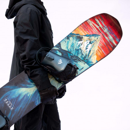 Flow NX2 Speed Entry Snowboard Binding shown in driftwood colour, rear view