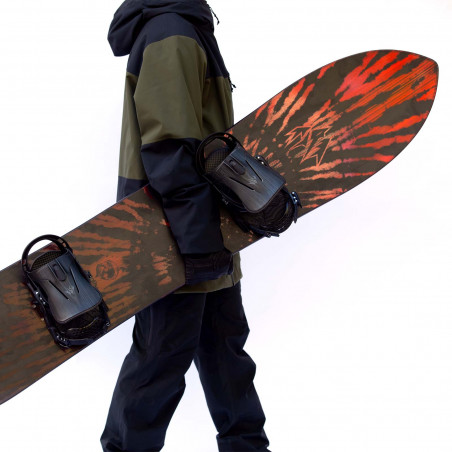 Flow NX2 Speed Entry Snowboard Binding shown in gunmetal colour, rear view