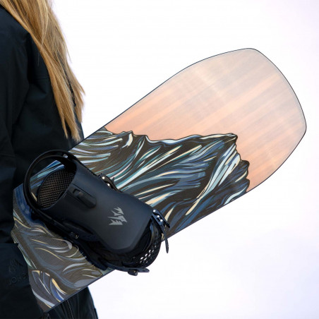Flow Fuse-GT Speed Entry Snowboard Binding shown in black colour, side view